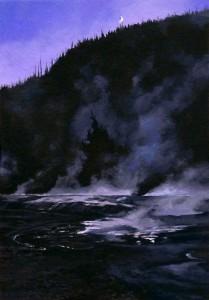 Moonrise at Black Sand Basin